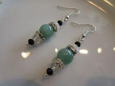 Handmade For You Green Jade, Jet Black Clear Swarovski Crystal and Rhinestone Beaded Earrings Silver Plated French Hook Earring Hooks E157 by JewelsHandmadeForYou on Etsy