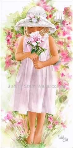 Girl in White Sun Hat, Pink Dress, Smelling Pink Peony Flowers, Children Watercolor Painting Print, Painting Prints, Watercolor Paintings, Art Print, Watercolours, Painting Canvas, Peony Flower, Flower Art, Pink Dress, Flower Girl Dresses