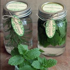 Homemade Herb Infused Vodka. I can't wait to try this with some basil, mint, or rosemary! Choose one of the herbs, In pt jar fill with smashed leaves cover with vodka and keep in dark place for one week, shake jar  every day to mix, then remove all leaves and add herb infused vodka  to 1 can concentrate rasberry juice, 1 liter carbonated water .  My favorite is the mint!!