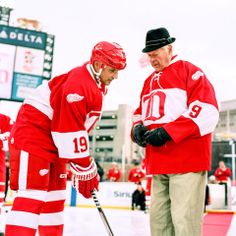 Mr. Hockey drops the puck with Steve Yzerman before the 2013 Alumni Showdown