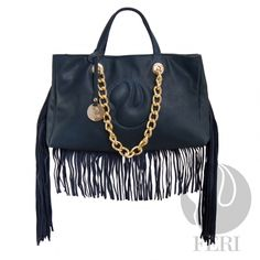 FERI Leather Purse & Wallets - Navy Blue PU Leather handbag with fringe detailing - Embellished with gold toned metal chain and hardware - FERI swan lo Designer Bags Online, Online Bags, Designer Handbags, Passion For Fashion, Love Fashion, Swan Logo, Designer Wear, Luxury Designer, Classy Women