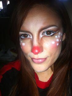Reindeer makeup for the Santa Shuffle