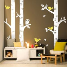 3 big birch trees wall decal-art vinyl wall stickers decor, love the bench wth pillows