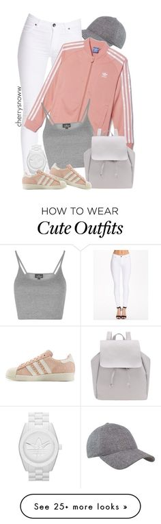 """Cute sporty pastels spring outfit"" by cherrysnoww on Polyvore featuring Dr. Denim, adidas, Topshop and adidas Originals"