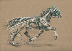 А4/ крафт бумага/ гелевые ручки, цветной карандаш/ по фото Марсианки  #drawing #trotting_race_horse #harness_racing