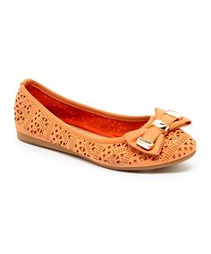 Loving this Peach Bow Tulip Flat on #zulily! #zulilyfinds