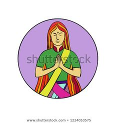 Mono line illustration of a young Indian woman pressing hands together with a smile to greet Namaste, a common cultural practice in India set inside circle done in monoline style. Line Illustration, Art Challenge, New Pictures, Namaste, Royalty Free Stock Photos, Hands, Culture, Indian, Smile