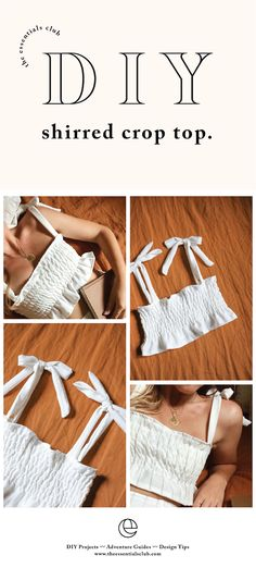 DIY: Shirred Crop Top with Tie Straps - geschenke diy outdoor diy ropa diy school diy slime diy summer diy valentines day gifts for him Diy Projects Design, Sewing Projects, Diy Fashion Projects, Diy Clothing, Sewing Clothes, Diy Clothes Tops, Diy Clothes Design, Clothes Crafts, Diy Your Clothes
