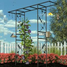 """84"""" high Black Steel 10-piece Perching Birds Feeding Station Arbor with accessories."""