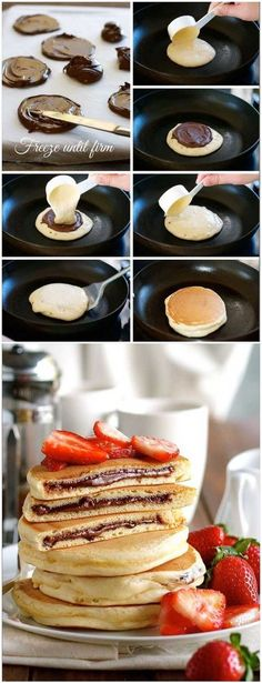 Nutella Stuffed Pancakes - I'd give the whole world to know how they spread the Nutella so perfectly on that circle of batter when they were at risk of getting burned