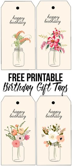 FREE printable birthday tags with beautiful florals. livelaughrowe.com
