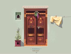 by ranganath krishnamani Indian Illustration, Illustration Story, Simple Illustration, Digital Illustration, Graphic Illustration, Bd Art, Indian Doors, Indian Art Paintings, Creative Posters