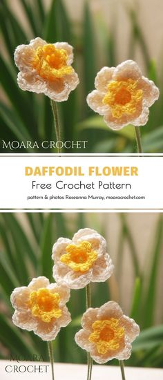 The wonderful artist behind Moara Crochet is famous for her patterns for flowers, undoubtedly. Have you tried following her instructions before? Spring is evidently the perfect time, right? We will certainly make a bunch of these delicate crochet daffodils as soon as we can! #crochetflower #crochetdaffodil #crochetdecor #crochetflowers #freecrochetpattern #crochetpattern Crochet Daisy, Crochet Birds, Crochet Quilt, Crochet Crafts, Crochet Flowers, Crochet Stitches, Knitted Flower Pattern, Crochet Flower Tutorial, Crochet Designs