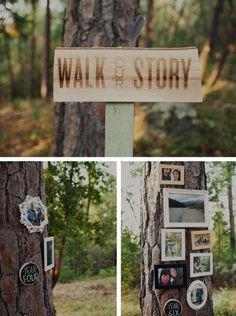 I love this idea for a wedding! Have a trail outdoors and nail the story of your husband and yourself along the walk. Show the story using pictures.