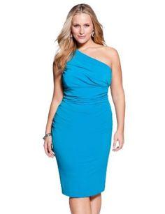 eloquii Draped One Shoulder Dress Blue 16W eloquii. $43.60