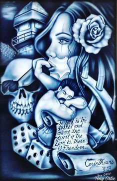 Gangster Drawings, Chicano Drawings, Chicano Art, Gangster Tattoos, Chicano Style Tattoo, Chicano Tattoos, Body Tattoos, Tatoos, Lowrider Drawings