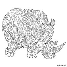 Zentangle rhino (rhinoceros), coloring page