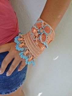 SALE 10% ,Crochet Bracelet Cuff, Crochet Beaded Bracelet, Beaded Bracelet, Glass Beads, Lace Border, Crochet Jewelry, Colorful Bracelet