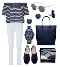 """""""The Navy Feels"""" by tasha-m-e ❤ liked on Polyvore featuring Rebecca Minkoff, Topshop, Chanel, RetroSuperFuture, Kate Spade, Michael Kors, Christian Dior and Avenue"""