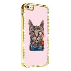 Cat Smoke Pipe Funny Gold iPhone 5/5S Case Luxury Style Cover Diamond Crystal Rhinestone Bling Hard Gold Case Cover for iPhone 5 and 5S PAZATO http://www.amazon.com/dp/B00NPQ6NCU/ref=cm_sw_r_pi_dp_7nziub0PHRK8H