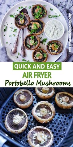 Air Fryer Portobello Mushrooms are quick and easy! Seasoned with dried herbs, these mushrooms make a great side dish. #easyrecipe #mushroomrecipes #airfryerrecipes @sweetcaramelsunday