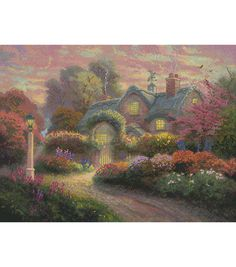 "Thomas Kinkade Rosebud Cottage Counted Cross Stitch Kit-16""X12"" 16 Count"