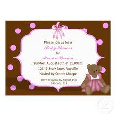 Custom Girls Baby Shower Invitations #itsagirl #girlsbabyshower #babyshower #invites