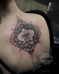 Orchid tattoo dotwork mandala