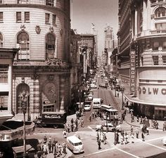 1965: Powell and Market streets, long before the Hallidie Plaza; traffic went two ways on Powell and Eddie street then. Notice Gallen- Camp shoe store? I guess I can certainly called this The Lost San Francisco, CA