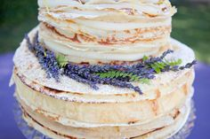 {Cake Inspiration} Crepe Wedding Cake with Lavender