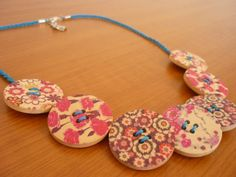 Handmade Wooden Buttons Necklace Floral Blue Cord Flowers DIY