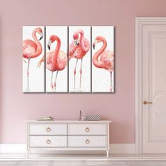 Gracefully Pink VIII Multi Panel Canvas Wall Art by ElephantStock is printed using High-Quality materials for an elegant finish. We are the specialists in Modern Décor canvas prints and we offer 30 day Money Back Guarantee Artist Wall, Artist Canvas, Artist Painting, Flamingo Painting, Create Canvas, Indie Art, Modern Artists, Wall Art Designs, Canvas Wall Art
