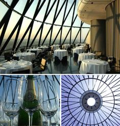 It may be small but the top floor bar at London's 30 St. Mary Axe, affectionately known as The Gherkin, is an unforgettable experience. Gaze out the geometric windows at the highest bar in London and get a panoramic view of the city, from a vantage point nearly 600 feet above the ground. Not just anyone can waltz in and have a drink here, however; it's a very exclusive private lounge and dining club.