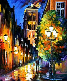 """The Lights Of The Old Town — PALETTE KNIFE Oil Painting On Canvas By Leonid Afremov - Size: 36"""" x 30"""""""