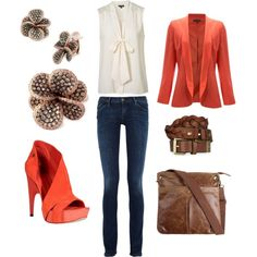 Super Cute with a side of Orange, created by crystal-dinn.polyvore.com