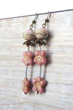 Old pink Lampwork earrings retro flower beads by chezviolette