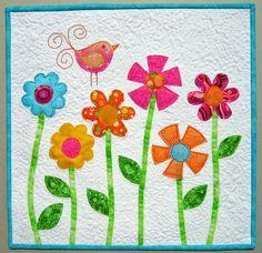 flower+applique   applique flowers and birdie 2 2
