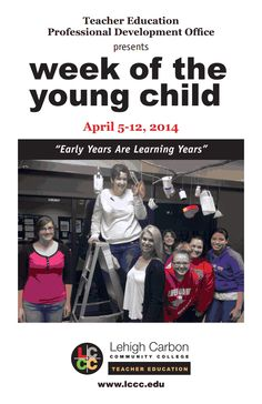 "Our 2014 Week of the Young Child conference brochure is here! Don't miss Professor Melanie's keynote on Saturday, April 5th ""Teaching the Reggio Inspired Way. What Is It? How Do You Do It?"""