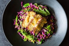 Snow Pea, Cabbage, and Mizuna Salad with Marinated and Seared Tempeh recipe on Food52