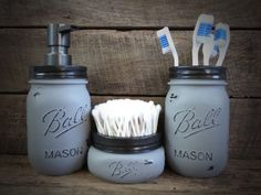 Mason Jar Bathroom Set/Light Grey Mason Jar Soap by MasonMeSmile, $40.00