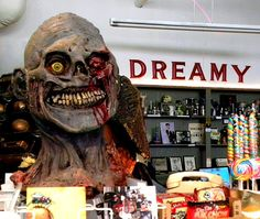 Inside, you'll find all kinds of unusual artifacts, memorabilia, art, candy, books, DVDs, and more.