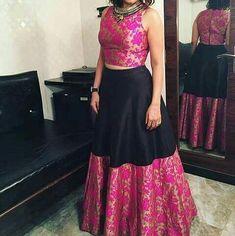 Pattu bounded crop top for desi girls Half Saree Designs, Lehenga Designs, Blouse Designs, Dress Designs, Indian Designer Outfits, Indian Outfits, Designer Dresses, Long Gown Dress, Saree Dress