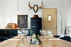 The restaurant at Sågverket, a stylish country hostel and retreat center on the coast near Härnösand in Northern Sweden | Remodelista