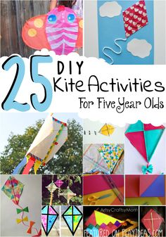 These 25 DIY kite activities for five year olds will inspire your kiddo to create, paint, build, and even fly their own kites. Happy Crafting!