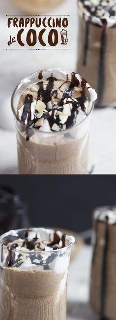 Cremoso y helado frappuccino con leche de coco. Creamy and frappuccino ice cream with coconut milk. Yummy Drinks, Delicious Desserts, Dessert Recipes, Yummy Food, Cold Drinks, Beverages, Chocolate Frappe Recipe, Spanish Desserts, Gastronomia
