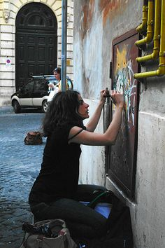 Alice Pasquini at work in Rome. (LP) http://stores.ebay.com/MR-MADCAN