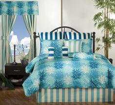 Our tropical and beach bedding are our biggest sellers for vacation rental units.  This year we're bringing more color patterns to coordinate your beach decor theme!