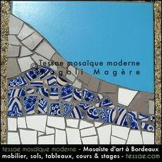 Dessous-de-plats unique en mosaïque bleues et blanches fait en France