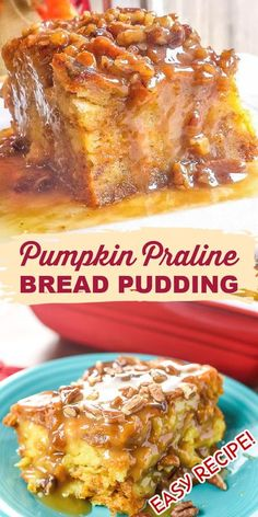 Pumpkin Praline Bread Pudding is a rich and creamy, sweet and crunchy, pumpkin-y dessert that is perfect for Thanksgiving. It is easy to make yet impressive enough for any holiday dinner!