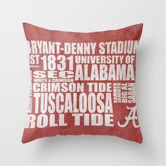 University of Alabama Crimson Tide Typography Pillow by heycopper, $49.99